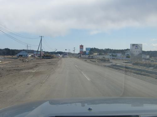 震災で被害を受けた道路